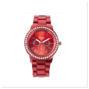 Red Rhinestone Chronograph Watch
